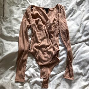 Forever 21 ribbed nude bodysuit